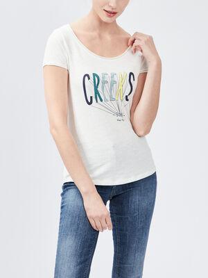 T shirt manches courtes Creeks blanc femme