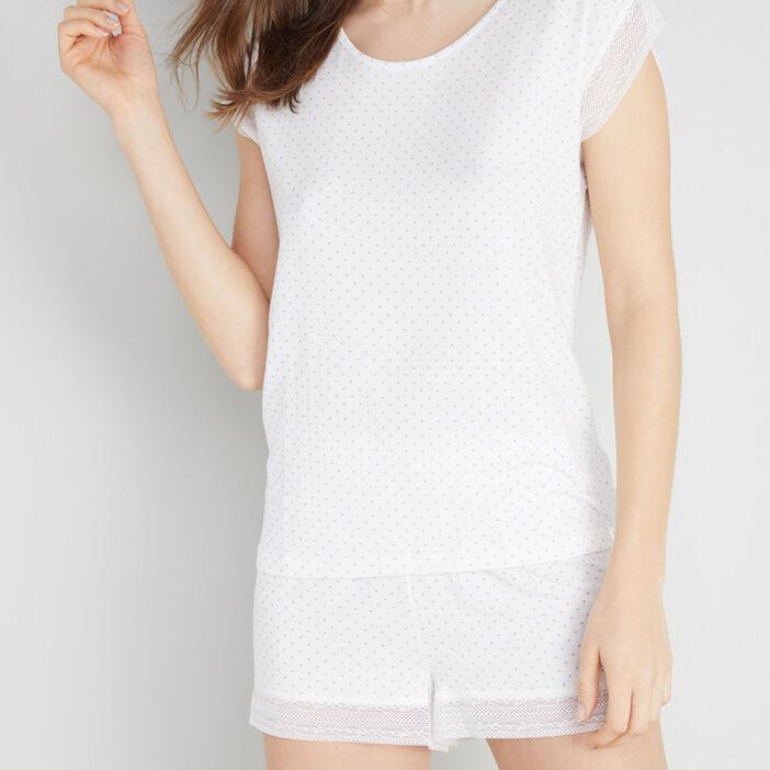 T-shirt nuit imprimé avec dentelle femme blanc