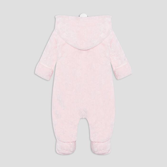 Combinaison à capuche zippée bébé fille rose