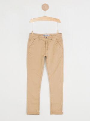 Pantalon 5 poches coton extensible beige garcon