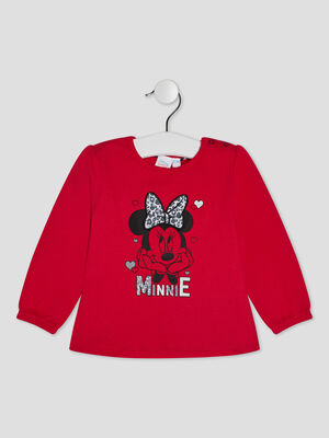 T shirt manches longues Minnie rouge bebef