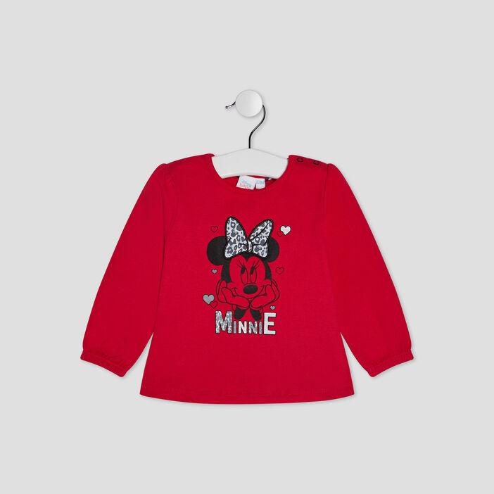 T-shirt manches longues Minnie bébé fille rouge