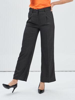 Pantalon large a pinces gris femme