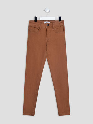 Pantalon regular effet stretch camel garcon