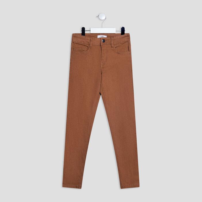 Pantalon regular effet stretch garçon camel