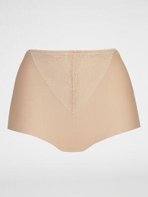 Culotte ventre plat dentelle beige femme