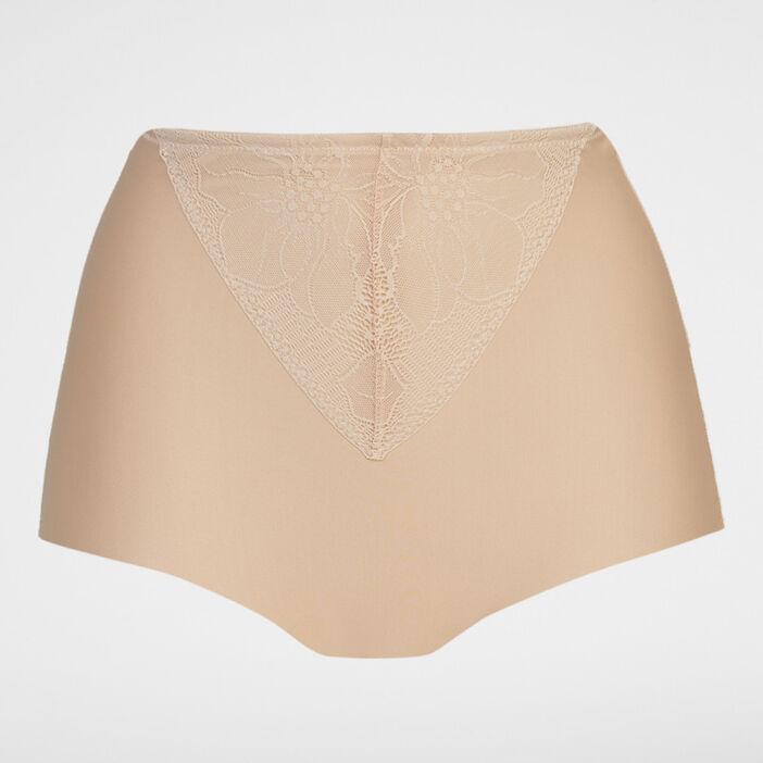 Culotte ventre plat dentelle femme beige