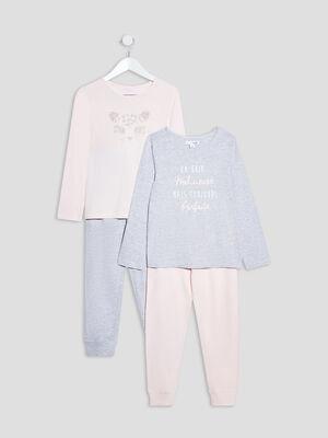 Lot 2 ensembles pyjamas rose fille