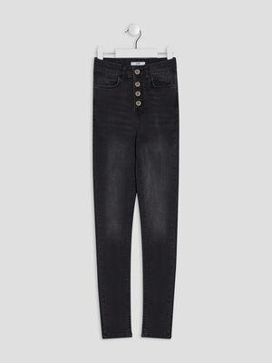 Jeans slim boutonne denim snow noir fille