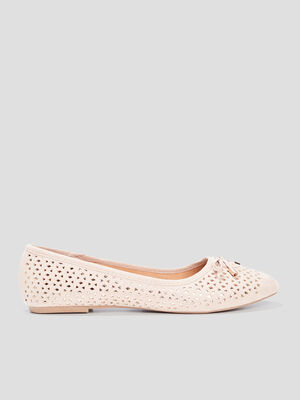 Ballerines a details ajoures taupe femme