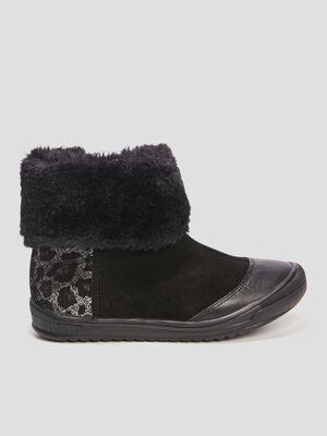 Boots daim et imprime leopard noir fille