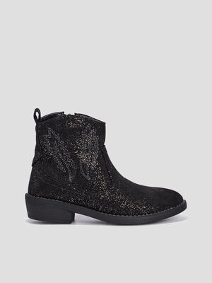 Bottines pailletees noir fille