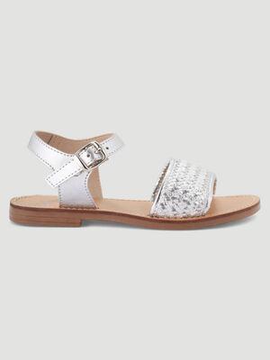 Sandales metallisees aspect tresse couleur argent fille