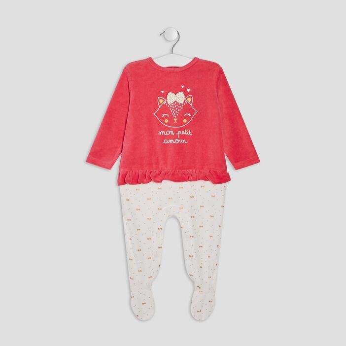 Dors-bien avec volants bébé fille rose fushia