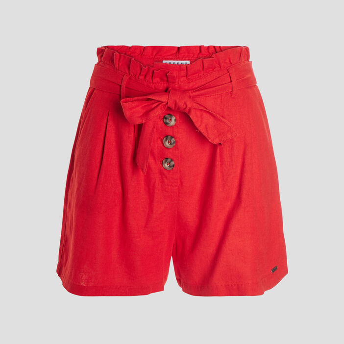 Short paperbag femme rouge