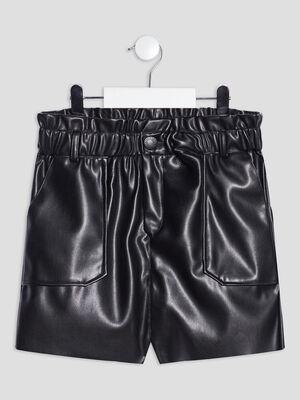Short droit taille elastiquee noir fille