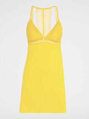 Chemise de nuit a manches courtes jaune moutarde femme