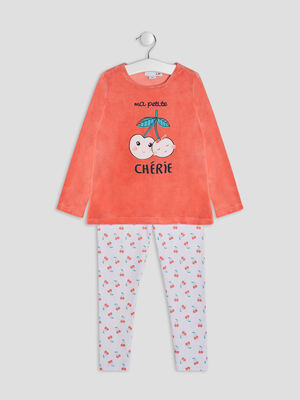 Ensemble pyjama 2 pieces orange corail fille