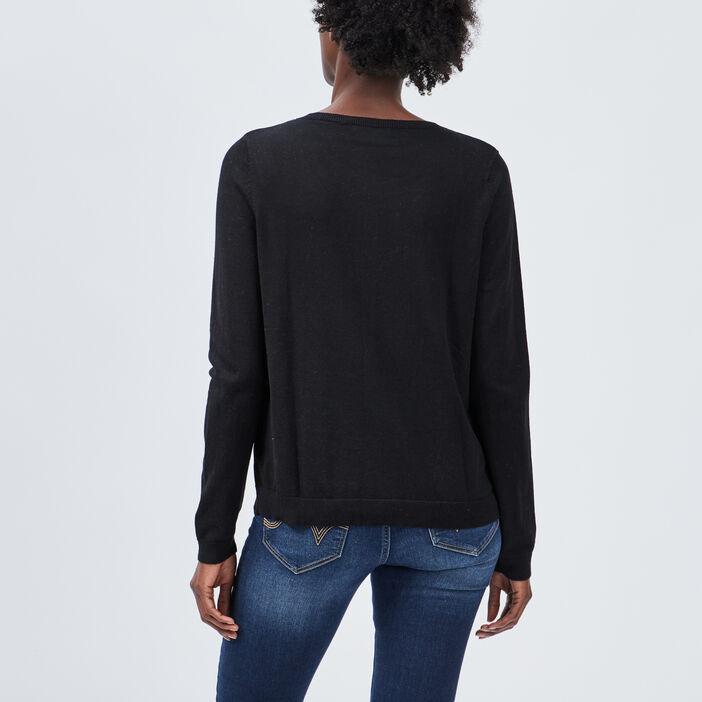 Gilet manches longues boutonné femme noir