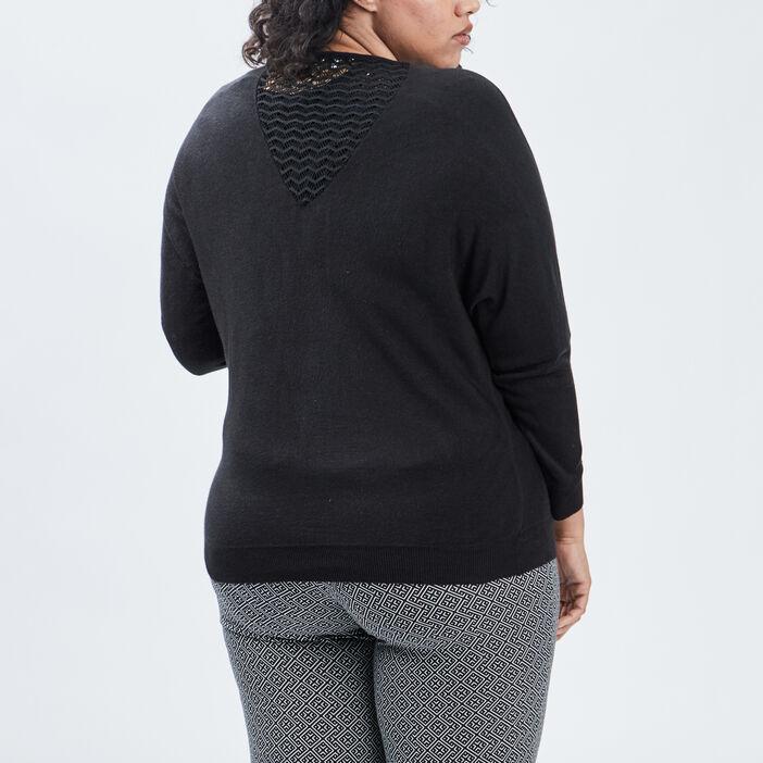 Gilet manches longues zippé femme grande taille noir