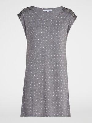 Chemise de nuit avec dentelle gris fonce femme