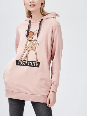Sweat a capuche Bambi rose femme