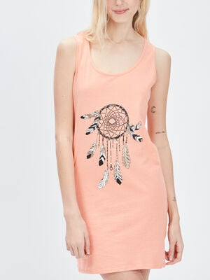 Chemise de nuit sans manches orange corail femme