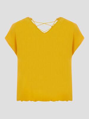 Chemise manches courtes jaune moutarde femme