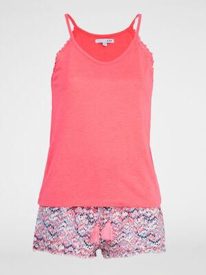 Pyjama debardeur short imprime Diabolo rose fluo femme