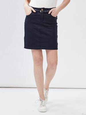Jupe ajustee ceinturee bleu marine femme