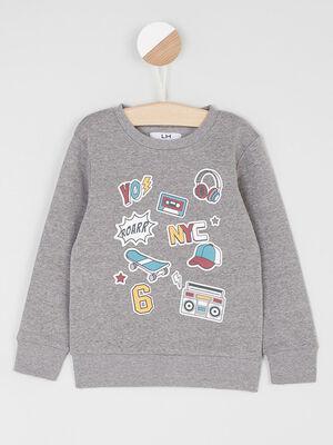 Sweatshirt imprime col rond gris fonc garco