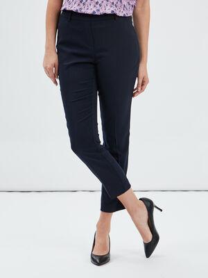 Pantalon droit a pinces bleu marine femme