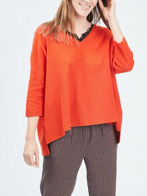Pull manches 34 Liberto orange femme