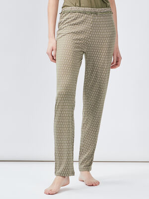 Pantalon de nuit vert kaki femme