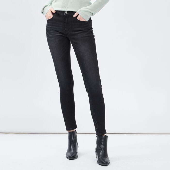 Jeans skinny taille basse femme denim snow noir