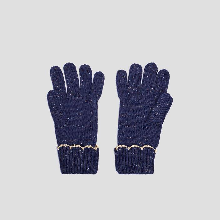 Lot bonnet et gants fille bleu marine