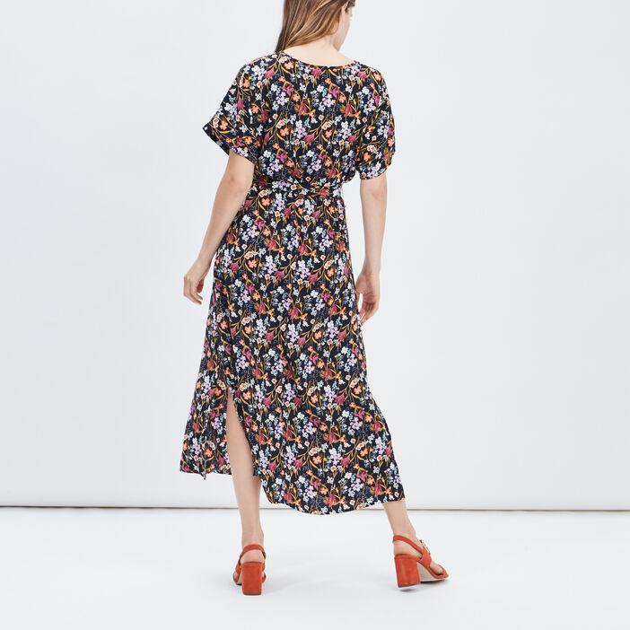 Robe longue droite ceinturée femme multicolore