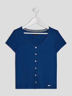 T shirt cotele Liberto bleu fille