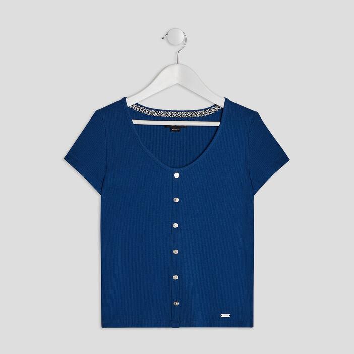 T-shirt côtelé Liberto fille bleu