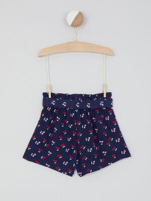 Short taille elastiquee a motifs bleu marine fille
