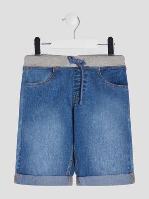 Bermuda droit en jean denim double stone garcon