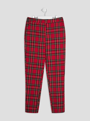 Pantalon droit elastique rouge fille