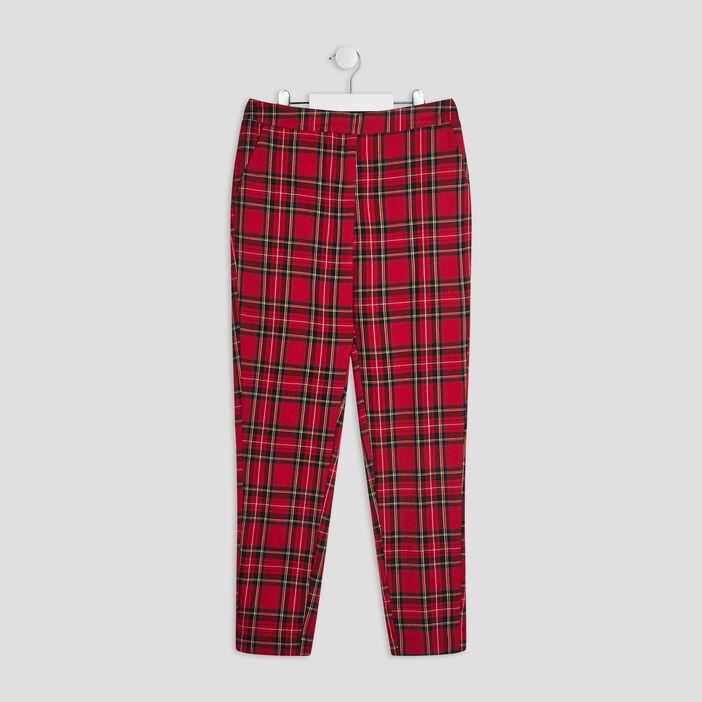 Pantalon droit élastiqué fille rouge