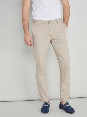 Pantalon droit uni ecru homme