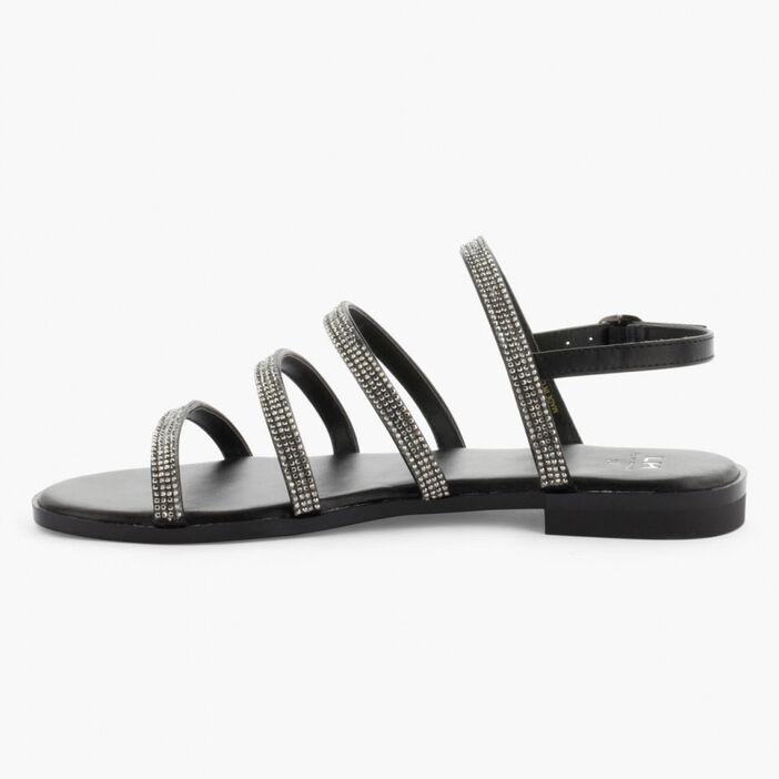 Sandales plates à strass femme noir