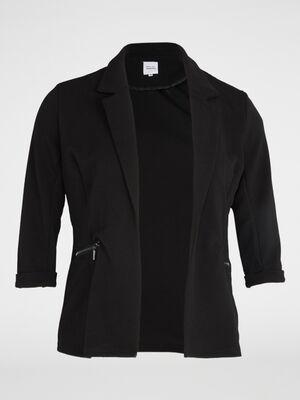 Veste unie avec zips fantaisie noir femme