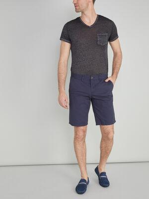 Bermuda coton uni coupe droite bleu marine homme