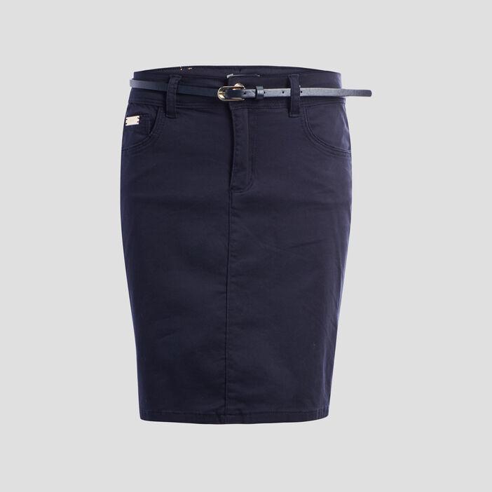 Jupe ajustée ceinturée femme bleu marine