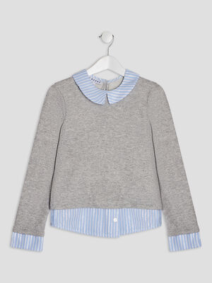 Sweat 2 en 1 Creeks gris fille