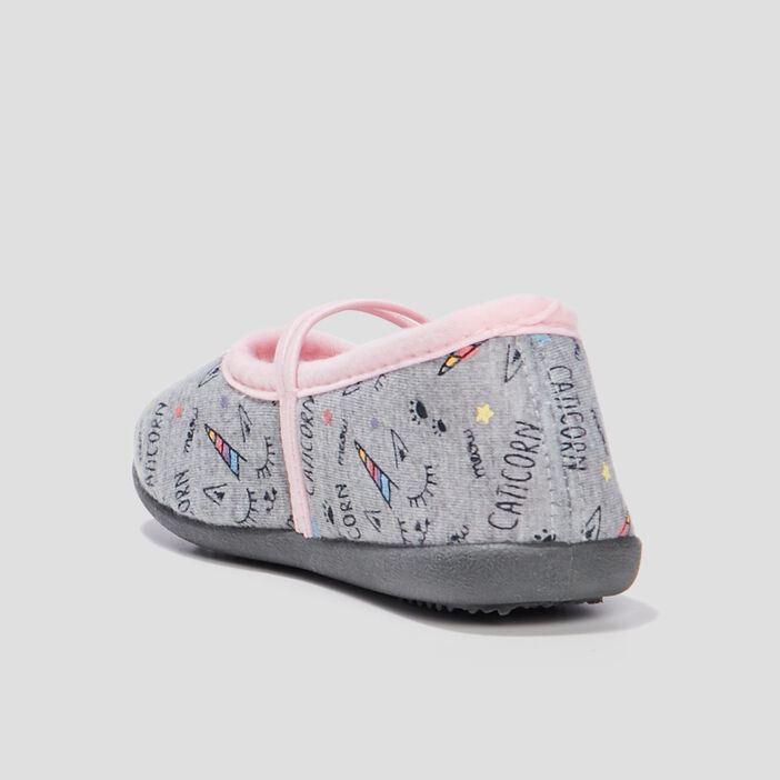 Chaussons ballerines fille gris